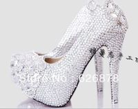 Free shipping Luxury crystal big fashion comfortable high-heeled shoes wedding shoes princess shoes red white wedding shoes