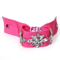Wholesale 2014 Hot New Design  vintage hollywood fabric webbing weaving rhinestone flower fashion bracelet