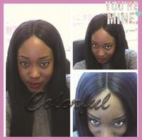 Factory direct sales light yaki straight indian virgin hair full lace wig glueless human hair wig instock