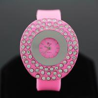 2014 fashion girls round with diamond wrist watch
