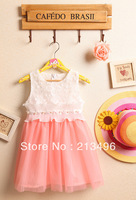 free shipping! Summer new pearl lace dresses of the girls ,kids clothes girls   4pcs/lot    PGF01