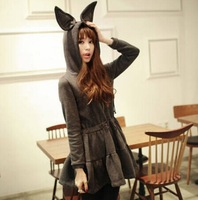 Free shipping!Women trendy winter casual mini dress rabbit long ears hat fleece sweatshirt hoodie dress women