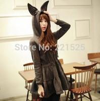 Free shipping!Women trendy winter casual mini dress rabbit long ears hat fleece sweatshirt hoodie dress women