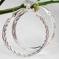 Min Order $5 (Mix Order) Fashion 40mm Big Circle Earrings 925 Sterling Silver Polished Earring Hoops Earrings 5B