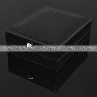 Men Cuff Link Women Black Leather Cufflinks Cufflink Box Boxes Gift Storage Case