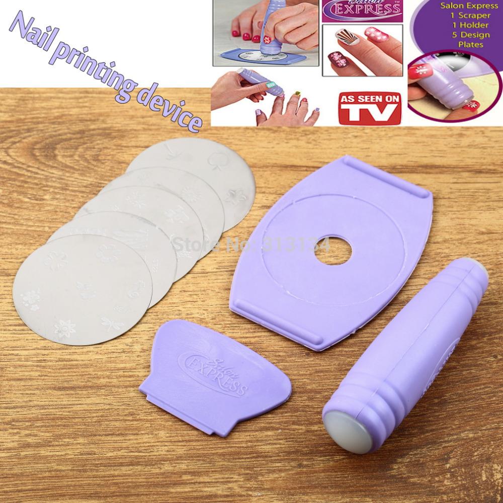 1set simple and easy Nail Art Stamp Stamping ProfessionalPolish Nail DIY Design Kit Decoration Free Shipping(China (Mainland))