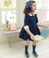1pcs retail lovely baby girls long sleeve spring and autumn dress for 3-6 year kids offer free shipping