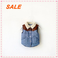Free shipping+2014 New Fashion Cowboy Material,Cotton+Berber Fleece,Spring/Autum/Winter Children's Thick Casual Vest,4 Size