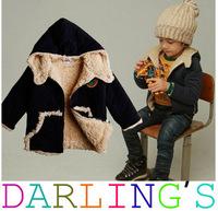 Free Shipping Retail winter boy coat Thick warm cashmere Blends boys cotton-padded jacket,Kids winter Fleece Wool cotton Hoodies