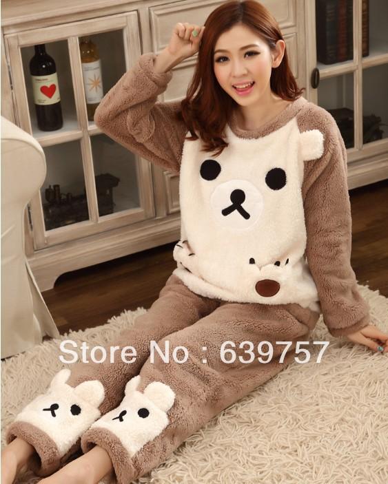 Visual little bear very cute&warm soft handfeel free shipping ladies coral fleece pajama(China (Mainland))
