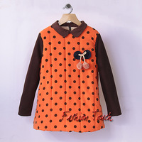 Winter And Fall Kids Outfit Girls Cotton Thick Dot Coat Children 2014 New Year Orange Clothes Baby Girls Coat Ready Stock