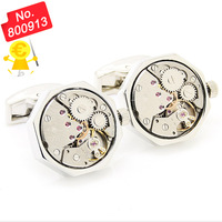 Functional Mechanical Cufflinks - Watch  Cufflinks ,Silver Octagon Watch Movement Cufflinks  -800913  free shipping