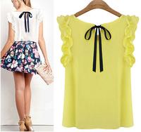 2014 New fashion women's o-neck lotus leaf pullover lacing bow chiffon shirt op women's Chiffon blouse S-XL Free shipping