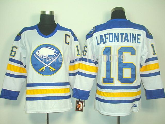 Wholesale and retail Hockey jerseys buffalo sabres jersey lafontainf 16 white wtih c hockey clothing sport jersey(China (Mainland))