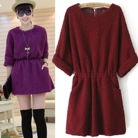 Hot New Brand Korean O-neck Thick Velvet Long Sleeve Plus Size Mini Pencil Dresses For  Women 2013