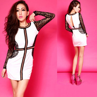NEW Women Lady Sexy Slim Lace Rivet Halter Splice Mini Club Cocktail One Piece Dress Free Size Retail Free Shipping