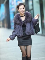 2013 Real rabbit fur raccoon fur collar women short design full leather rabbit fur coat jacket free shipping