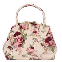 Free shipping 2014 Hot sale canvas handbag for girls Lovely flower printed handbags MINI totes Women's makeup bag Casual handbag