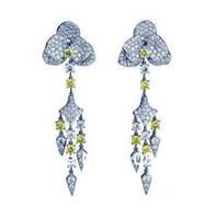 Derongems_Fine Jewelry_Customized Luxury Citrine Flower Party Tassel Earrings_S925 Solid Silver Earrings_Factory Directly Sales