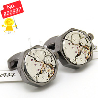 Functional Mechanical Cufflinks - Black shell and silver  movement octagonal watch cufflinks. - 800937