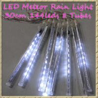 Free Shipping 2pcs/lot 30cm 144leds 8 Tubes LED Meteor Rain Light For Christmas Holiday Decoration Light