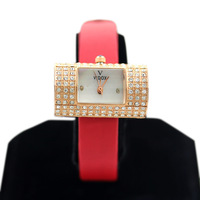 The new 2013 fashionable woman oval leather strap watch watch full drill square surface/free shipping