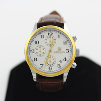 The new 2014 stylish men round leather strap watch watch/free shipping