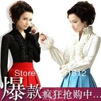 2013 white shirt ruffle slim flare sleeve shirt women shirt long-sleeved shirt clothing blouse women
