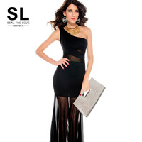 sexy club  Women fashion sexy one shoulder sleeveless sexy club Long party  lace chiffon casual bodycon elegant Dress