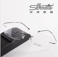 Brand  non-screw rimless optical glasses frames/ ultra-light titanium rimless eyeglasses frame go with the case