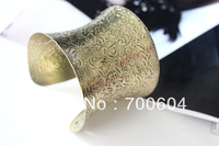 1pc Punk Cheap Metal Iron Cuff Vintage Gold Big Wide Gothic Bangle for Girls