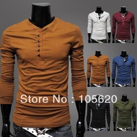 Free shipping hot sale Men basic shirts single breasted slim long-sleeve round neck T-shirt six color
