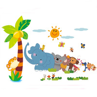 1set 40*100cm Cartoon Elephant Animal Relay Wall Sticker For Baby Room Art Wall Stickers & Animal Wallpaper Kids Room Wall Decal