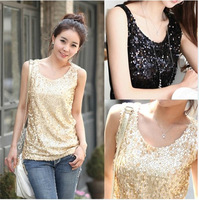 New Hot 2014 Summer Sleeveless Vest Shirt Crop Top  Paillette Gauze Patchwork Plus Size Sequined Tank Top Camisole L-4XL Sale