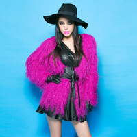 Bossy lady2013 fashion ruslana korshunova sexy candy color tassel plush cardigan cummerbund