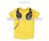 Free Shipping Children kids Summer boys girl's T shirts with Listening To Music Design fashion cotton children t shirt