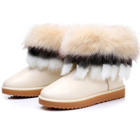 Free Shipping 2013  women winter waterproof slip-resistant double layer luxury fox fur flat snow boots short boots platform