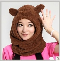 Autumn and winter millinery plush rabbit ears hat thermal pocket hat cap