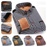 Promotion Men's Long Sleeve Shirt Winter Warm Plaid Thickened Leisure Shirt/Fashion Contrast Color Cotton Men Winter Clothes