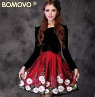 2013 spring models ladies red long-sleeved dress velvet dress green dress embroidered flowers in spring and autumn
