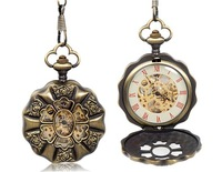Cut-out Design Rose Print Hollow Bronze Mechanical Pocket Watch M.