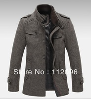 New Style Autumn and Winter Jackets For Men Splice Wool Jacket men's slim fit thickening Outerwear Mens Coat Winter Overcoat