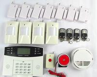 free shipping Wireless GSM Home House Burglar Alarm System Kit + Pir Smoke Door Sensor Panic
