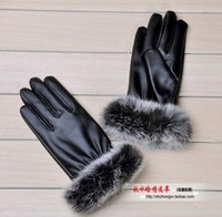 2014 Woman Rabbit hair PU winter snow warm motorcycle gloves wholesale new female imitation womens leather gloves ss11