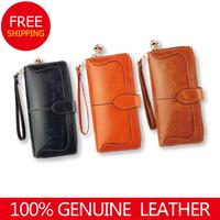 Fashion long zipper design female wallet cowhide multi card holder women's mobile phone female small clutch bag genuine leather