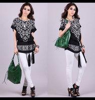 2014 Spring Creative Women Plus Size Batwing Short-Sleeve T-shirts Black White Loose T Shirt Blouses & Shirts 2XL 3XL 4XL 5XL