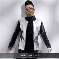 Free shipping 2014 male costume male motorcycle clothing punk slim leather clothing jacket silver outerwear silver costume