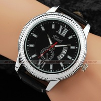 Cool Men Date Black Dial Quartz Analog PU Leather Band Sport Wrist Watch Q774