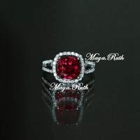 Lab-Created Ruby Red Corundum Square Shape Ring 925 Pure Silver Fashion Vintage Zirconia Diamond Micro Setting For Female