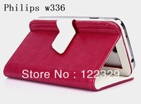 NEW High quality Pu Leather Flip auto-sleep magnet Smart Phone cover case for Philips w336 free shipping